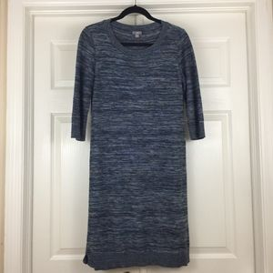 J. Jill linen cotton sweater dress blue space dye